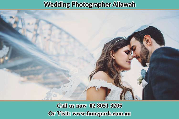 Close up photo of the Bride and the Groom under the Bridge Allawah NSW 2218