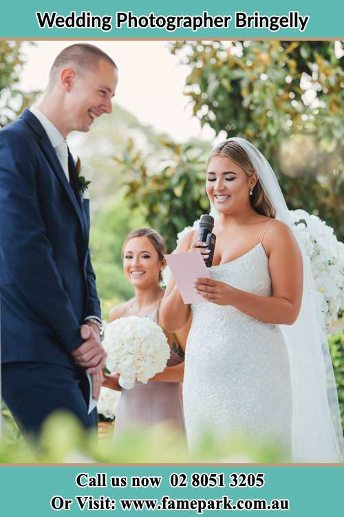 Photo of the Bride testifying love to the Groom Bringelly NSW 2556