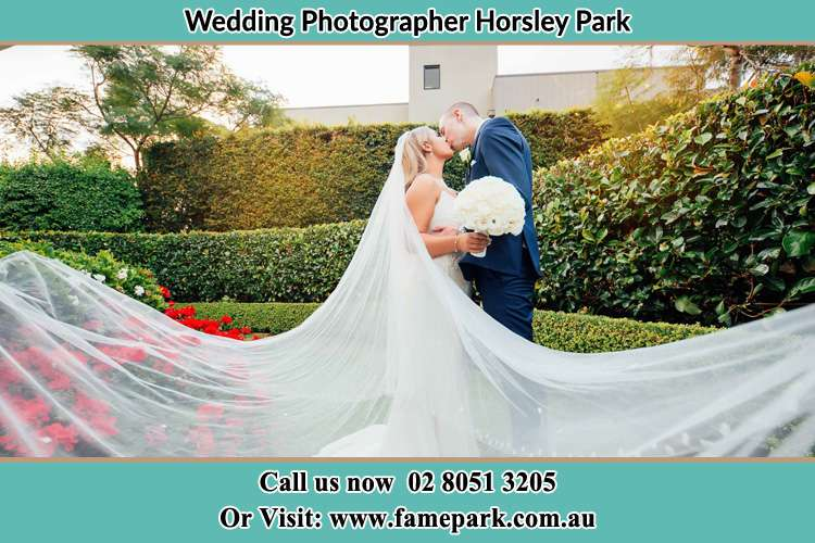 Photo of the Bride and the Groom kissing at the garden Horsley Park NSW 2175