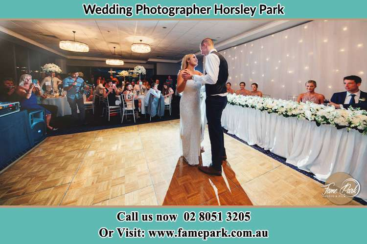 Photo of the Bride and the Groom dancing on the dance floor Horsley Park NSW 2175
